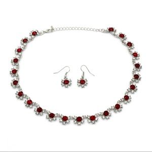 Classic silver red crystal necklace earrings set